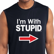I'm With Stupid White Print Mens Sleeveless Moisture Wicking Shirt
