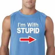 I'm With Stupid White Print Mens Sleeveless Shirt