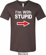 I'm With Stupid White Print Mens Tri Blend V-neck Shirt