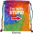 I'm With Stupid White Print Tie Dye Bag