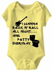 I Wanna Rock N Roll Funny Baby Romper Yellow Infant Babies Creeper