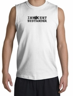 INNOCENT BYSTANDER BLACK Funny Adult Muscle Shirt Shooter - White