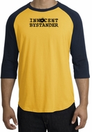 INNOCENT BYSTANDER BLACK Funny Adult Raglan T-shirt - Gold/Navy