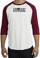 INNOCENT BYSTANDER BLACK Funny Adult Raglan T-shirt - White/Cardinal