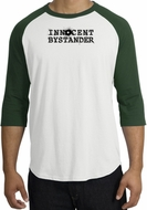 INNOCENT BYSTANDER BLACK Funny Adult Raglan T-shirt - White/Forest