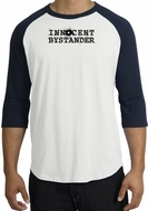 INNOCENT BYSTANDER BLACK Funny Adult Raglan T-shirt - White/Navy
