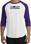 INNOCENT BYSTANDER BLACK Funny Adult Raglan T-shirt - White/Purple
