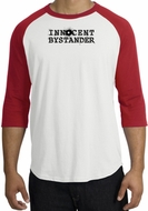 INNOCENT BYSTANDER BLACK Funny Adult Raglan T-shirt - White/Red