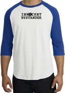 INNOCENT BYSTANDER BLACK Funny Adult Raglan T-shirt - White/Royal