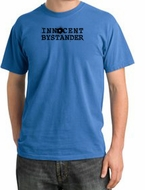 Innocent Bystander Shirt Black Print Pigment Dyed Tee Medium Blue