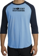 Innocent Bystander Shirt Black Print Raglan Shirt Carolina Blue/Navy