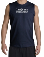 Innocent Bystander Shirt White Print Muscle Shirt Navy