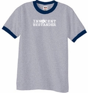 Innocent Bystander Shirt White Print Pigment Dyed Tee Grey/Navy
