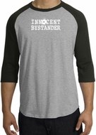 Innocent Bystander Shirt White Print Raglan Shirt Heather Grey/Black