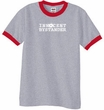 INNOCENT BYSTANDER WHITE Funny Adult Ringer T-shirt - Heather Grey/Red