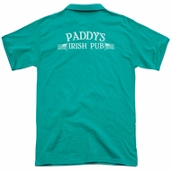 It's Always Sunny In Philadelphia Polo Paddys Logo Kelly Green Back Print Golf Shirt