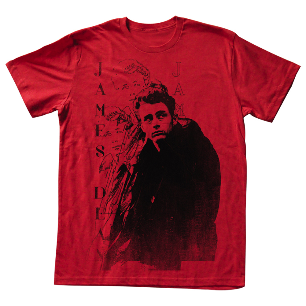 James Dean Shirt College Dean Adult Red Tee T Shirt