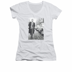 James Dean Shirt Juniors V Neck On The Street White T-Shirt