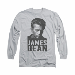 James Dean Shirt Lines Long Sleeve Athletic Heather Tee T-Shirt