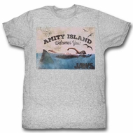 Jaws Shirt Amity Island Welcomes You Athletic Heather T-Shirt