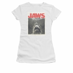 Jaws Shirt Juniors Block Classic Fear White T-Shirt