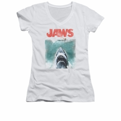 Jaws Shirt Juniors V Neck Vintage Poster White T-Shirt