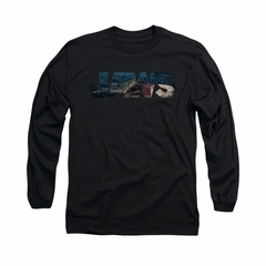 Jaws Shirt Logo Cut Out Long Sleeve Black Tee T-Shirt