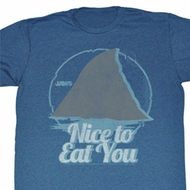 Jaws Shirt Nice To Eat You Adult Blue Heather Tee T-Shirt