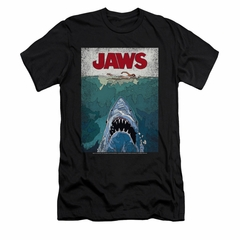 Jaws Shirt Slim Fit Lined Poster Black T-Shirt