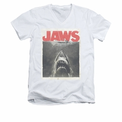 Jaws Shirt Slim Fit V-Neck Block Classic Fear White T-Shirt