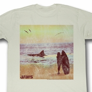 Jaws Shirt Surfside Adult Dirty White Tee T-Shirt