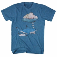 Jaws Shirt Thinking Of Food Heather Blue T-Shirt