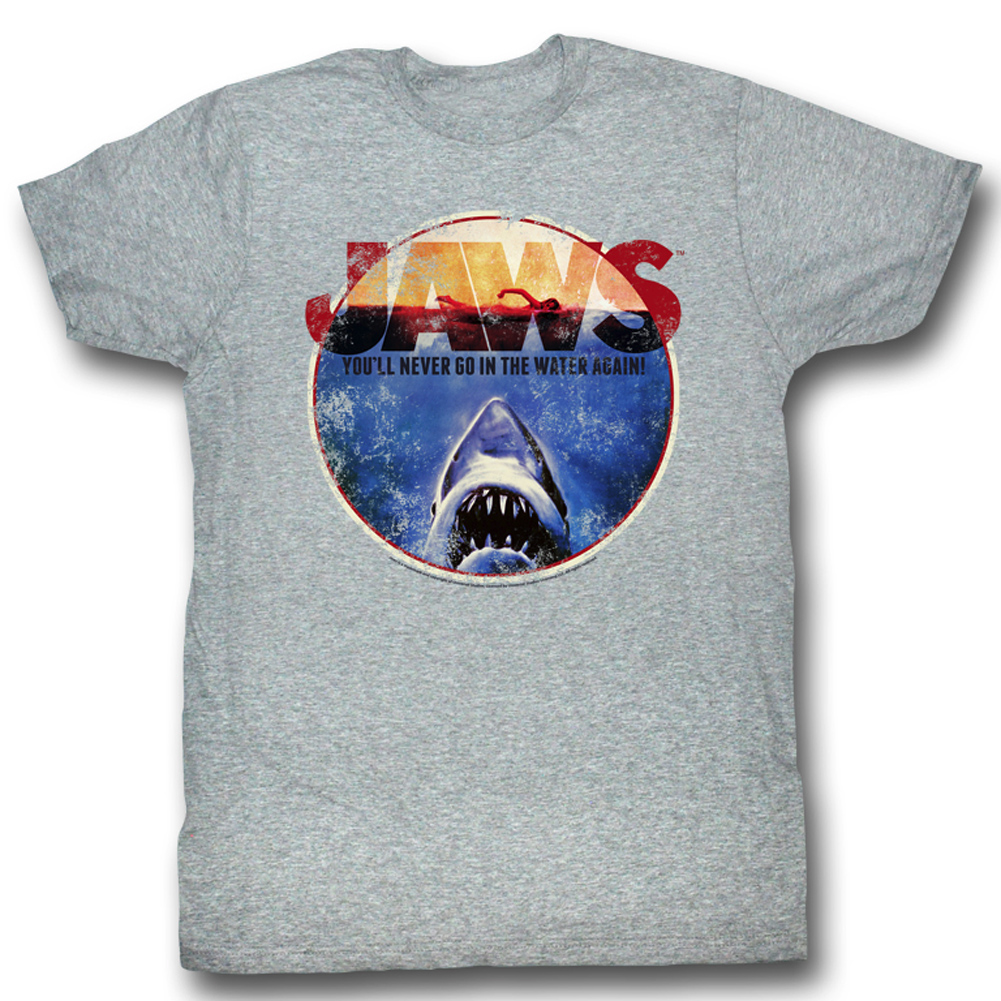 jaws shirt you will never go in the water adult grey tee t shirt jaws shirts. Black Bedroom Furniture Sets. Home Design Ideas