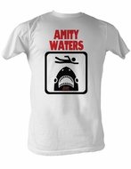 Jaws T-shirt Amity Waters Classic Adult White Tee Shirt