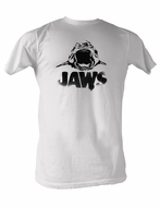 Jaws T-shirt Black Logo Classic Adult White Tee Shirt