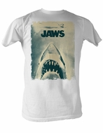 Jaws T-shirt Jaws Poster Classic Adult White Tee Shirt