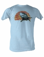 Jaws T-shirt Sunset Jaws Classic Adult Light Blue Tee Shirt