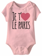 Je T'aime Le Paris  Funny Baby Romper Pink Infant Babies Creeper