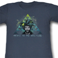 Jimi Hendrix Juniors Shirt Music Blue Heather Tee T-Shirt