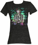 Jimi Hendrix Juniors T-shirt - Peace Love Adult Black Tee Shirt