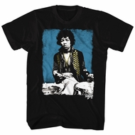 Jimi Hendrix Shirt Blue Drums Black T-Shirt
