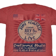 Jimi Hendrix Shirt Continuous Music Adult Red Heather Tee T-Shirt