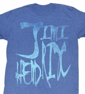 Jimi Hendrix Shirt Distorted Jim Adult Blue Heather Tee T-Shirt