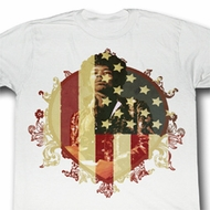 Jimi Hendrix Shirt Faded Flag Adult White Tee T-Shirt