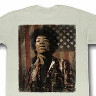 Jimi Hendrix Shirt Jimerica Adult Natural Tee T-Shirt