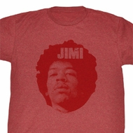 Jimi Hendrix Shirt Jimi Head Adult Heather Red Tee T-Shirt