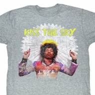 Jimi Hendrix Shirt Kiss the Sky Adult Grey Tee T-Shirt