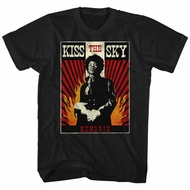 Jimi Hendrix Shirt Kiss The Sky Black T-Shirt