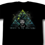 Jimi Hendrix Shirt Music Is My Religion Adult Black Tee T-Shirt