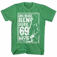 Jimi Hendrix Shirt New York 69 Live Heather Green T-Shirt